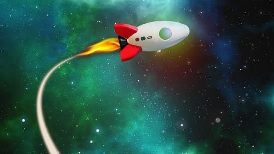 Cohete atravesando el espacio